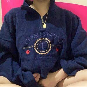 Sweaters - chunky toronto navy blue fleece sweater ✧